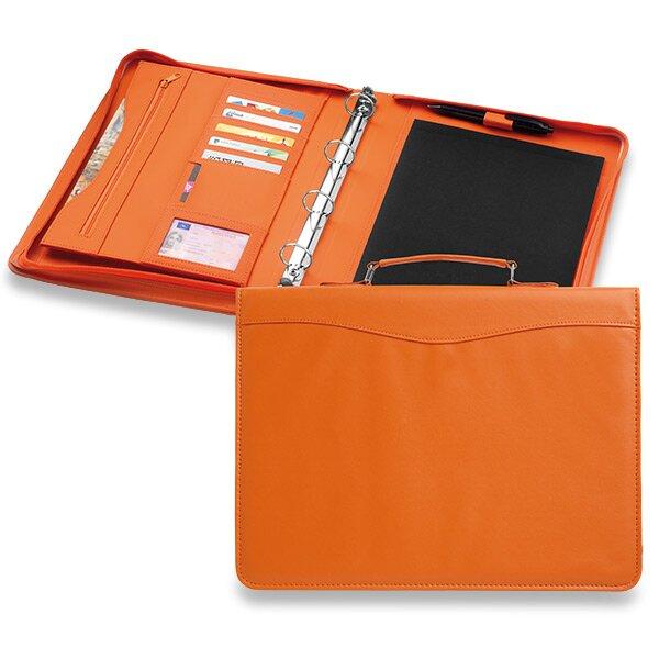 Koženkové portfolio Ebony se zipem a uchem 260 × 340 × 40 mm, oranžové
