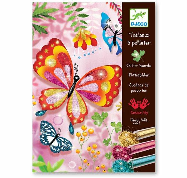 Malování barevným pískem Djeco - Třpytivý motýlci