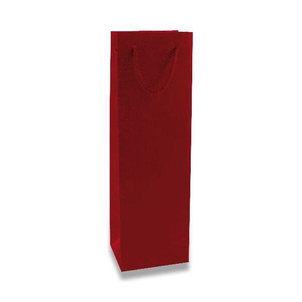 Papírová taška na láhev Hart s laminem červená