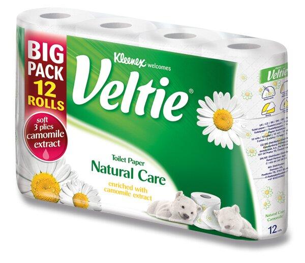 Toaletní papír Veltie Kleenex Natural Care 3 - vrstvý, 150 útržků, 12 ks