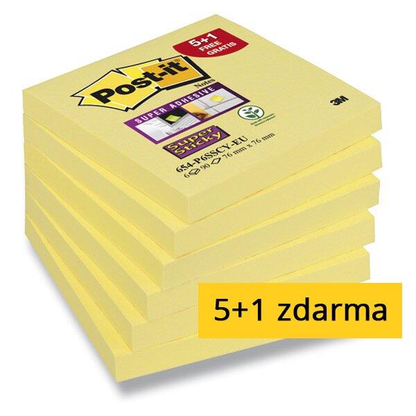 Samolepicí bloček 3M Post-it Super Sticky 654 76×76 mm, 6 x 90 listů
