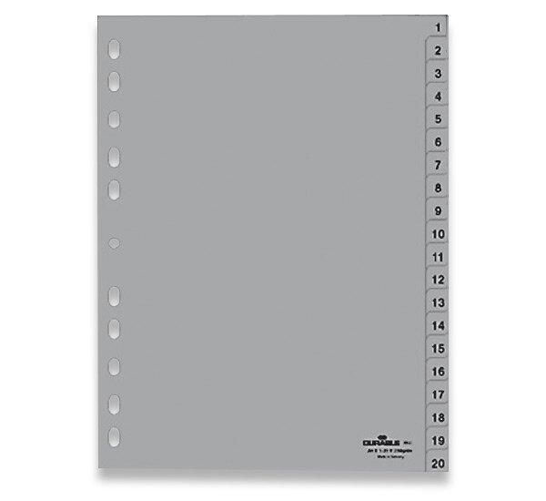 Polypropylénový rozlišovač Durable A4, šedý, 1-20, 20 listů