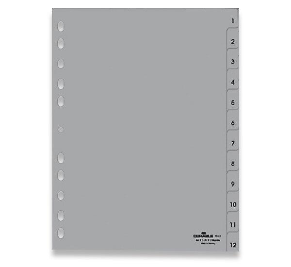 Polypropylénový rozlišovač Durable A4, šedý, 1-12, 12 listů