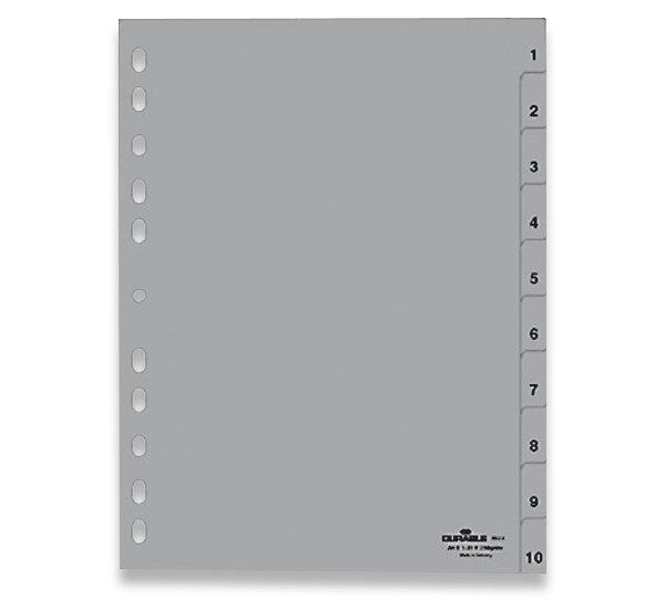 Polypropylénový rozlišovač Durable A4, šedý, 1-10 (10 listů)