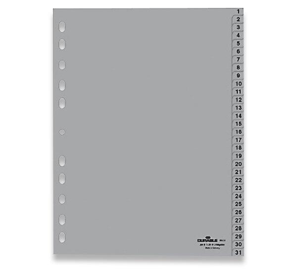 Polypropylénový rozlišovač Durable A4, šedý, 1-31, 31 listů