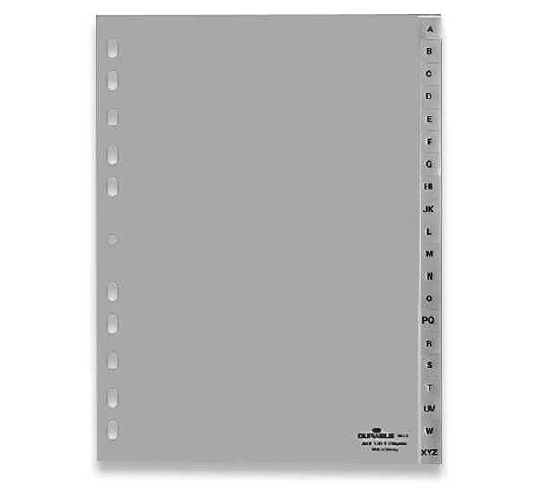 Polypropylénový rozlišovač Durable A4, šedý, A-Z, 20 listů