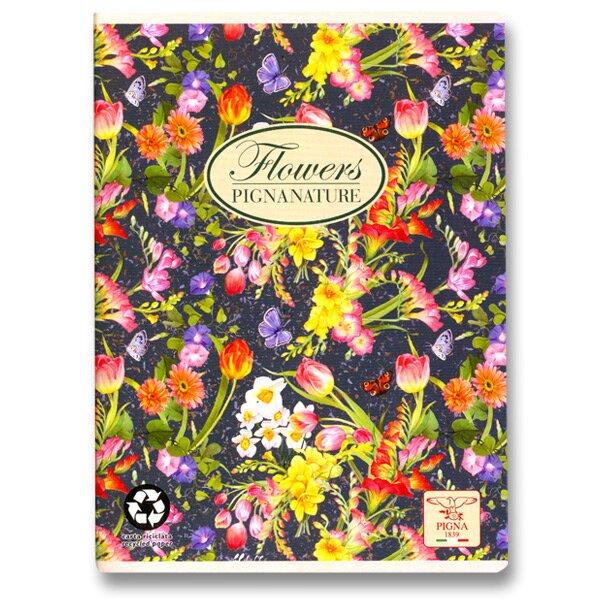 Školní sešit Pigna Nature Flowers - květy v noci A5, linkovaný, 40 listů