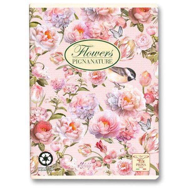 Školní sešit Pigna Nature Flowers - růžové květy A5, linkovaný, 40 listů