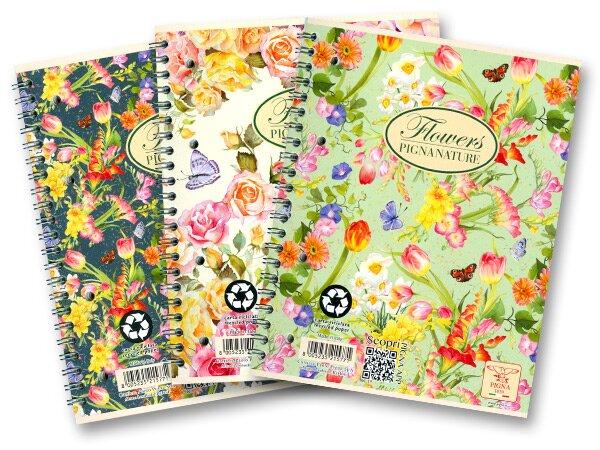Kroužkový blok Pigna Nature Flowers - mix motivů A5, čtverečkovaný, 60 listů