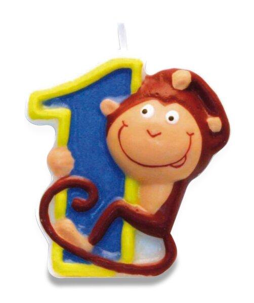 """Dortová číslová svíčka """"1"""", opice"""