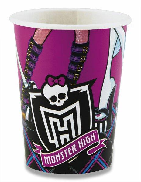 Papírové kelímky Monster High objem 0,25 l, 8 ks