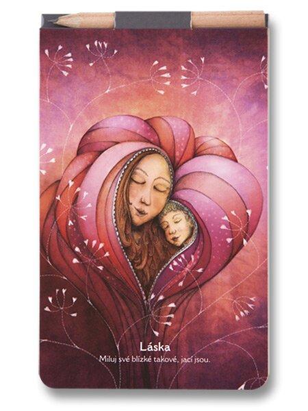 Poznámkový blok Láska 150 x 90 mm, čistý, 40 listů