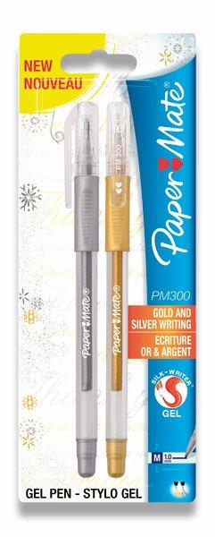 Gelová kuličková tužka PaperMate 300 zlatá a stříbrná