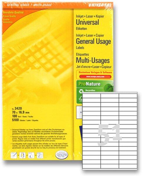 Bílé univerzální etikety Avery Zweckform 70,0 x 16,9 mm, 5100 etiket