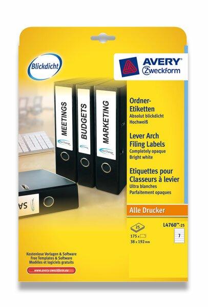 Samolepící štítky na pořadače Avery Zweckform 192 x 38 mm, 175 etiket, bílé
