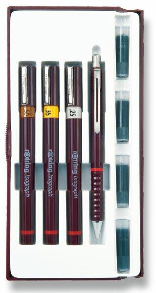 Sada technických per Isograph Rotring Junior Set 3 šíře hrotu 0,25, 0,35 a 0,5 mm