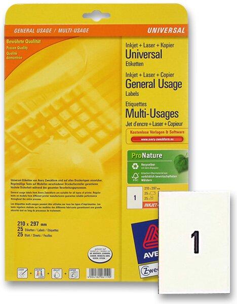 Bílé univerzální etikety Avery Zweckform 210,0 x 297,0 mm, 25 etiket