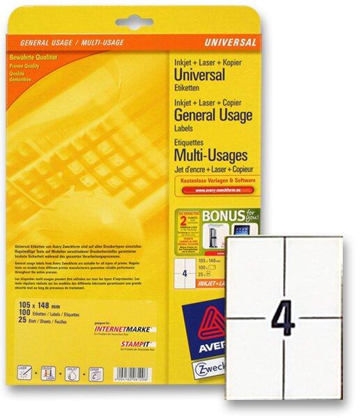 Bílé univerzální etikety Avery Zweckform 105,0 x 148,0 mm, 100 etiket