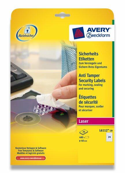 Bezpečnostní etikety Avery Zweckform průměr 40 mm, 480 etiket