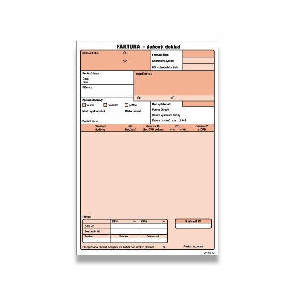 Faktura daňový doklad Optys formát A5