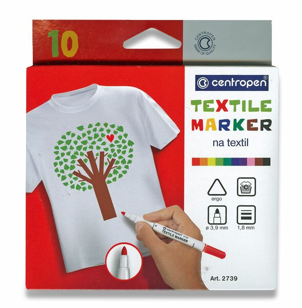 Značkovač Centropen na textil 10 barev