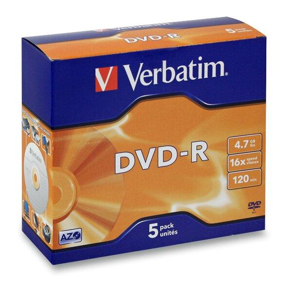 Zapisovatelné DVD Verbatim DVD-R 4,7 GB, 5 ks slim box