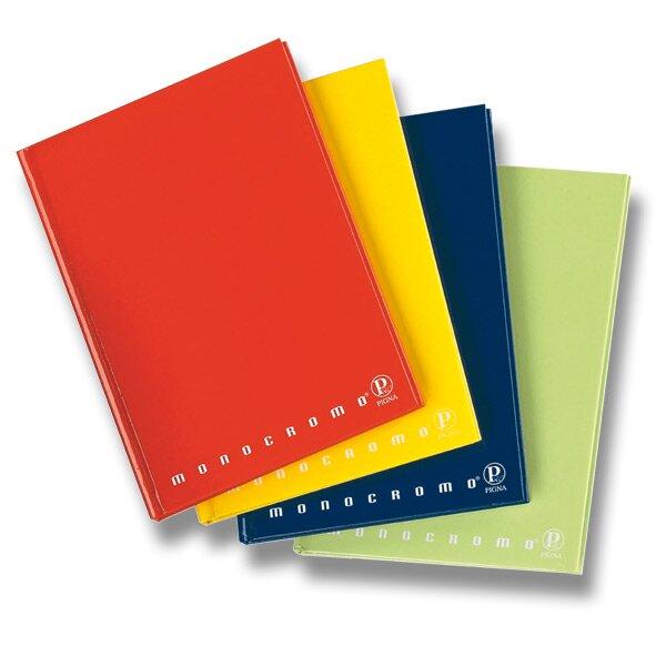 Poznámkový blok Pigna Monocromo - mix barev A4, linkovaný, 60 listů