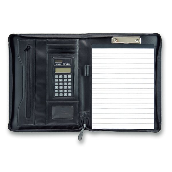 Koženkové portfolio PP Beta s kalkulačkou 292 x 350 x 35 mm, černé