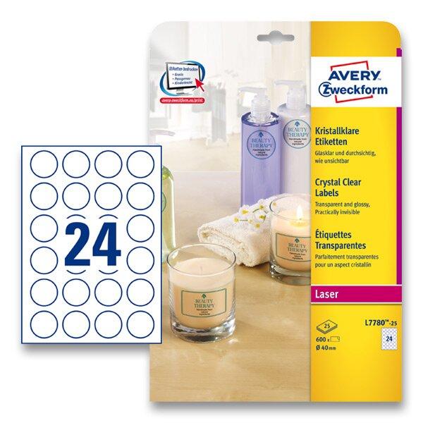 Kulaté etikety PET Avery Zweckform průměr 40 mm, 600 ks, čiré