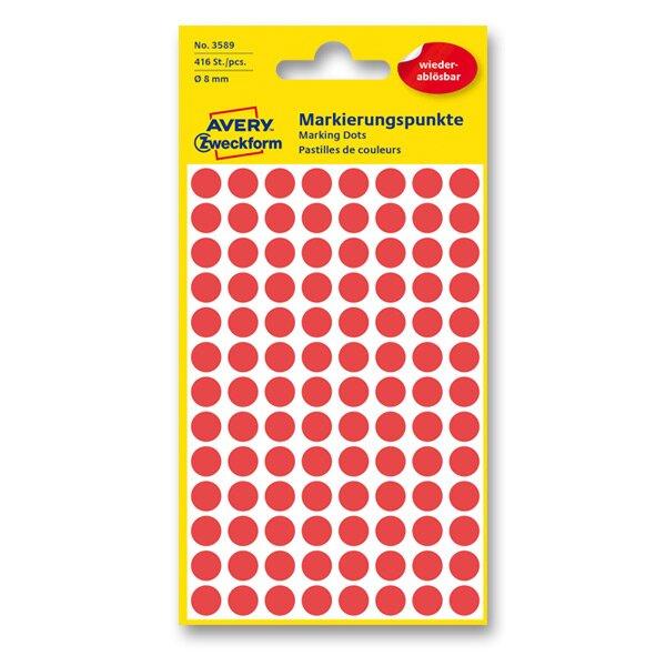 Kulaté etikety Avery Zweckform červené