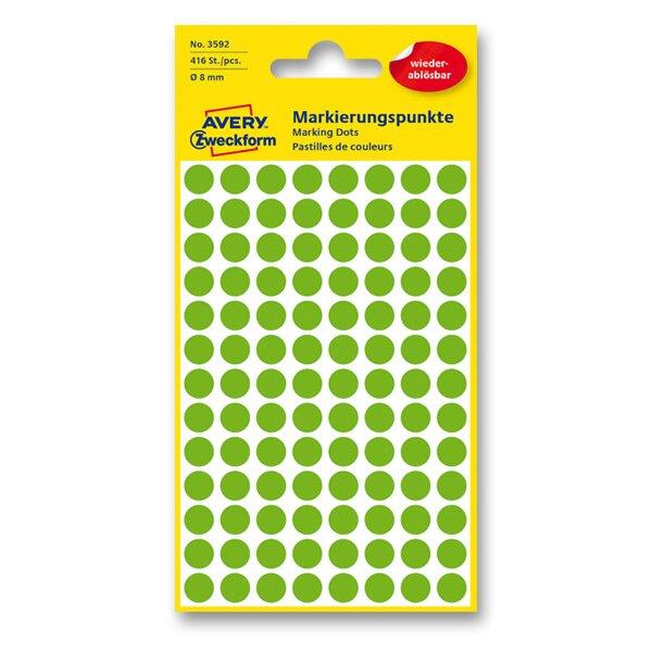 Kulaté etikety Avery Zweckform zelené