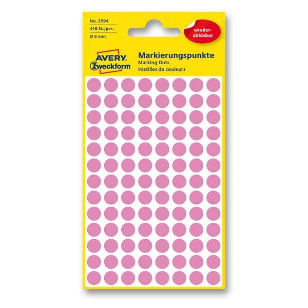 Kulaté etikety Avery Zweckform růžové