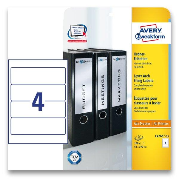 Samolepící štítky na pořadače Avery Zweckform 192 x 61 mm, 100 ks, bílé