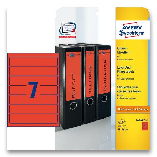 Samolepící štítky na pořadače Avery Zweckform červené