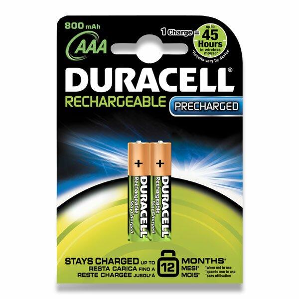 Dobíjecí baterie Duracell Stay Charged AAA, 800 mAh, 2 ks