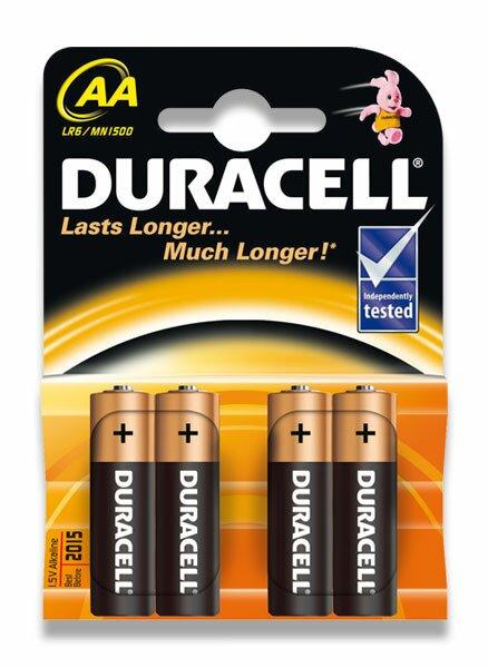 Alkalické baterie Duracell Basic AA, 4 ks
