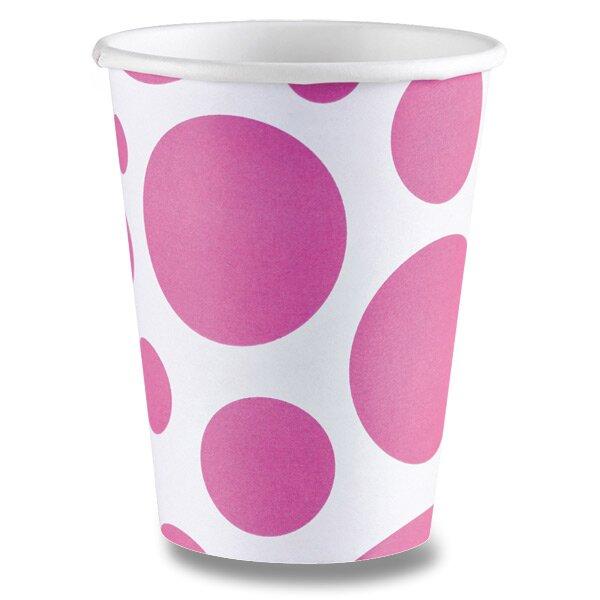 Papírové kelímky Solid Color Dots růžové