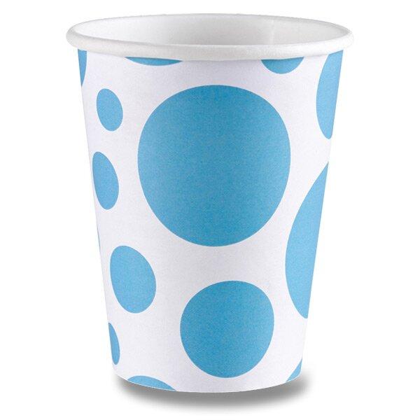 Papírové kelímky Solid Color Dots modré