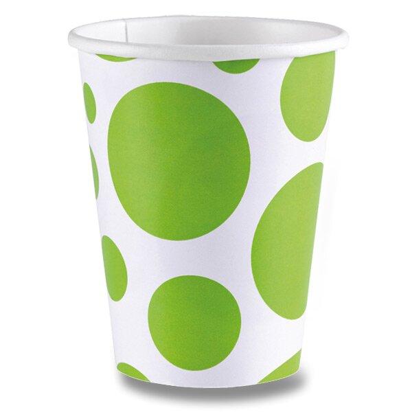 Papírové kelímky Solid Color Dots zelené