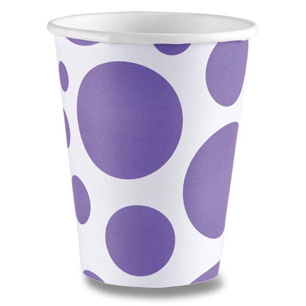 Papírové kelímky Solid Color Dots fialová