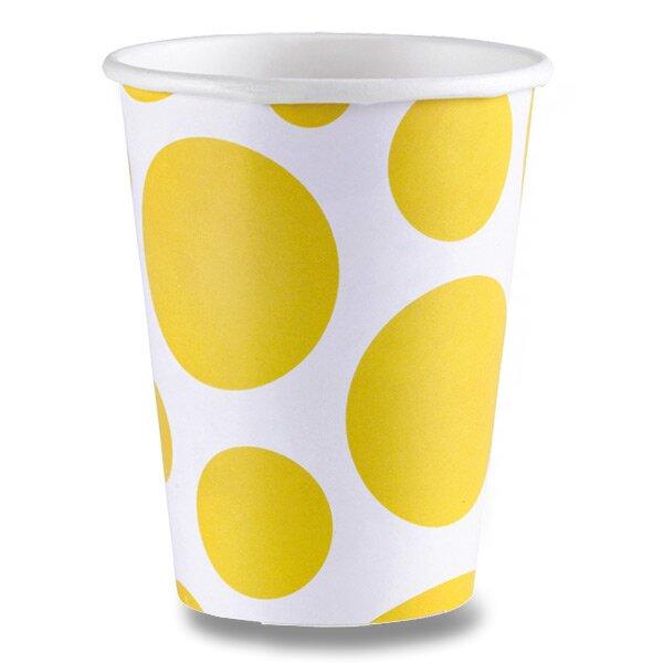 Papírové kelímky Solid Color Dots žluté