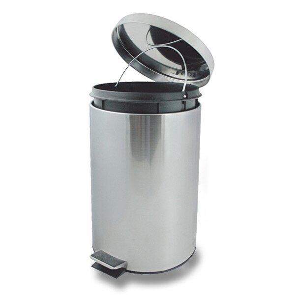 Kovový odpadkový koš pedálový Metal 12 l, stříbrný