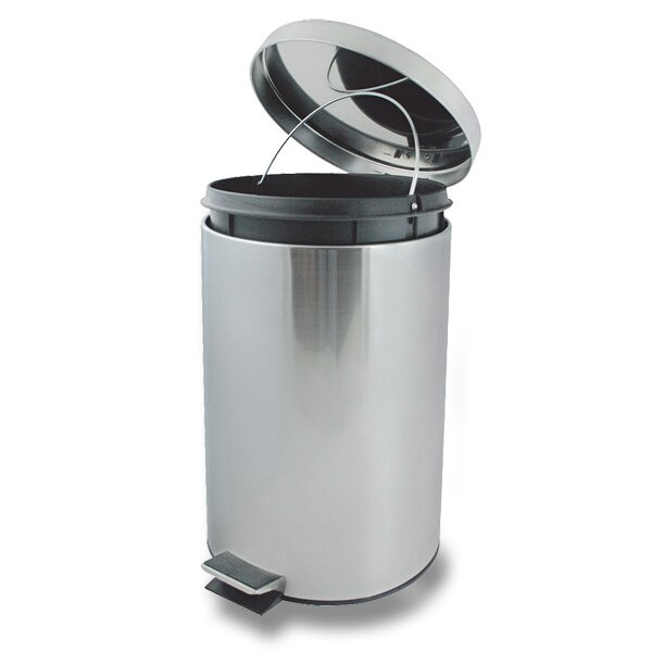 Kovový odpadkový koš pedálový Metal 20 l, stříbrný