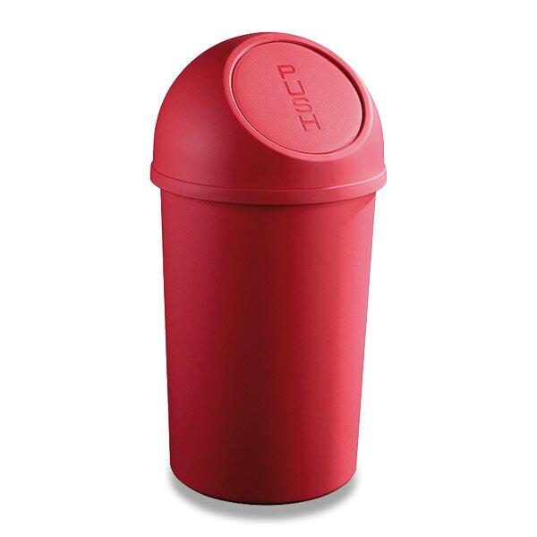 Plastový koš s víkem Helit červený