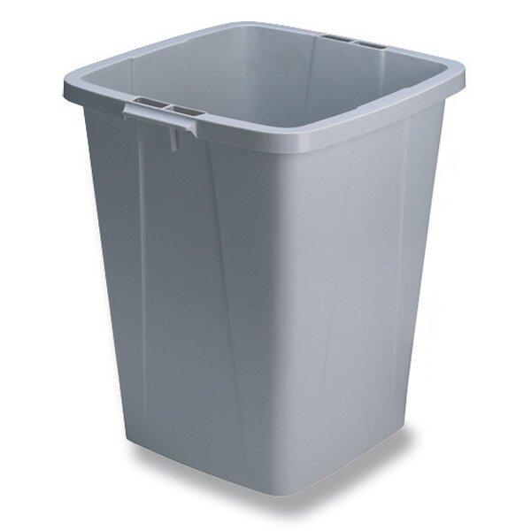 Velkoobjemový odpadkový koš Durable hranatý 90 l, šedý