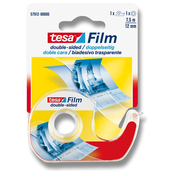 Oboustranná lepící páska Tesa Film Double Sides šíře 12 mm, návin 7,5 m, s odvíječem