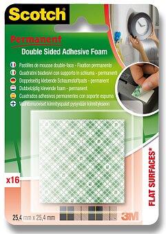 Obrázek produktu Oboustranně lepicí pěnové čtverečky 3M Scotch Permanent - čtverečky 25,5 x 25,4 mm, 16 ks