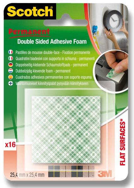 Oboustranně lepicí pěnové čtverečky 3M Scotch Permanent čtverečky 25,5 x 25,4 mm, 16 ks