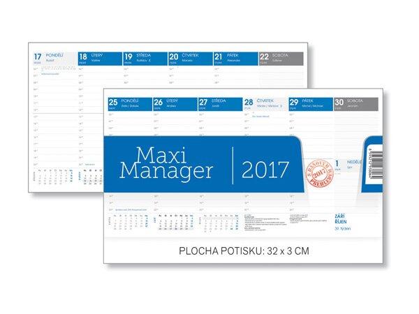Týdenní stolní kalendář Maxi Manager 2017 320 x 170 mm