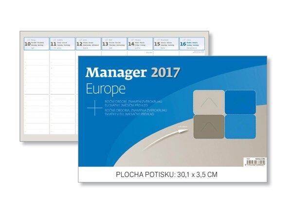Týdenní stolní kalendář Manager Europe 2017 301 x 180 mm